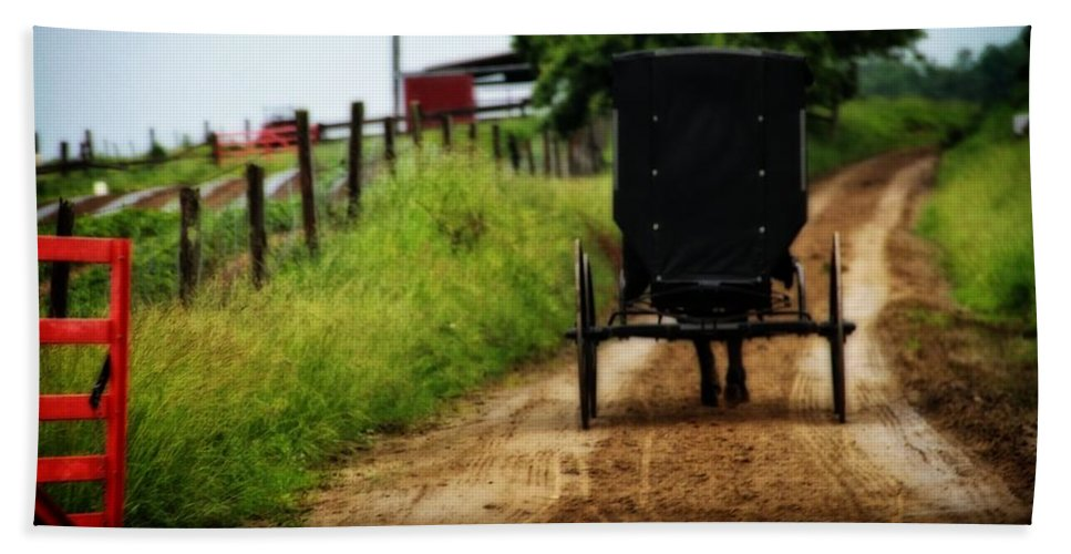 Amish Buggy On Dirt Road Bath Sheet featuring the photograph Amish Buggy On Dirt Road by Dan Sproul