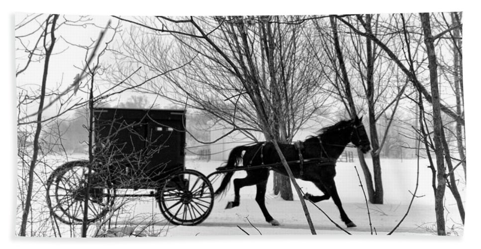 Amish Hand Towel featuring the photograph Amish Buggy Revised by David Arment