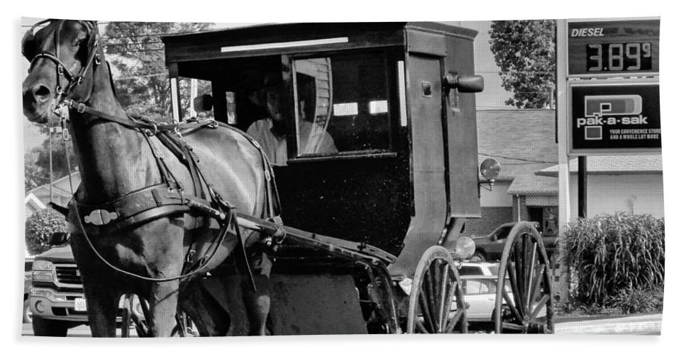 Gas Price Hand Towel featuring the photograph Amish Gas by Dan Sproul