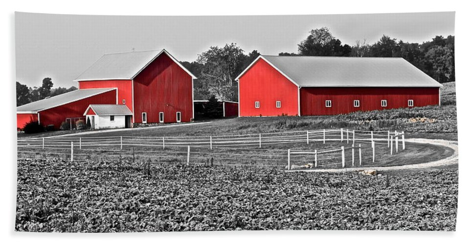 Amish Hand Towel featuring the photograph Amish Red Barn And Farm by Frozen in Time Fine Art Photography