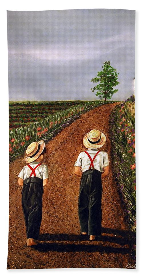 Lifestyle Hand Towel featuring the painting Amish Road by Linda Simon