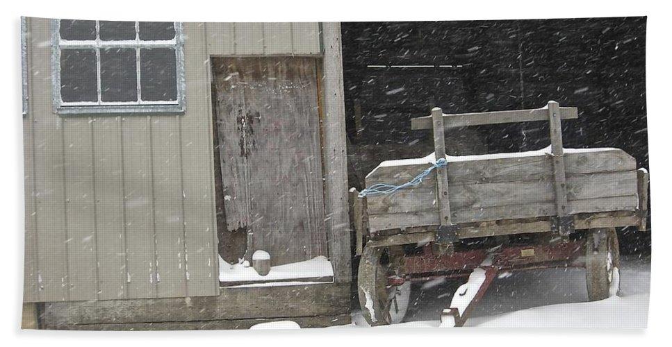 Amish Hand Towel featuring the photograph Amish Snowfall by Lori Amway