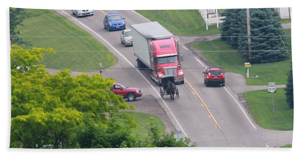 Amish Traffic Jam Bath Sheet featuring the photograph Amish Traffic Jam by Dan Sproul