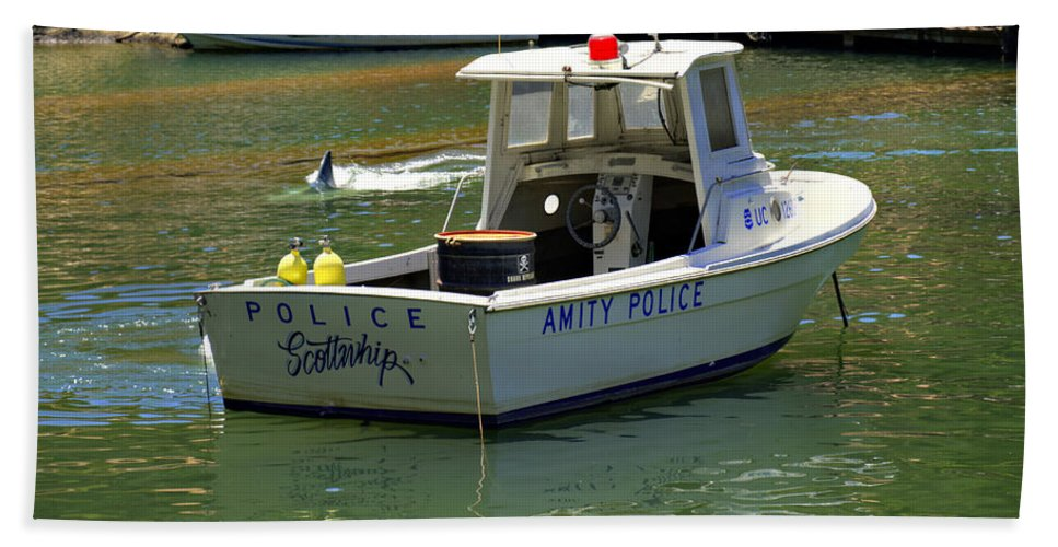 Jaws Hand Towel featuring the photograph Amity Police by Ricky Barnard