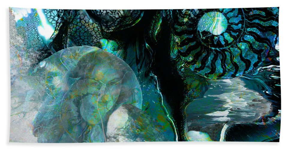 Ocean Hand Towel featuring the digital art Ammonite Seascape by Lisa Yount
