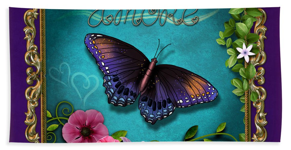 Amore Hand Towel featuring the digital art Amore - Butterfly Version by Peter Awax