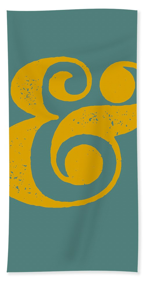 Ampersand Bath Towel featuring the digital art Ampersand Poster Blue and Yellow by Naxart Studio