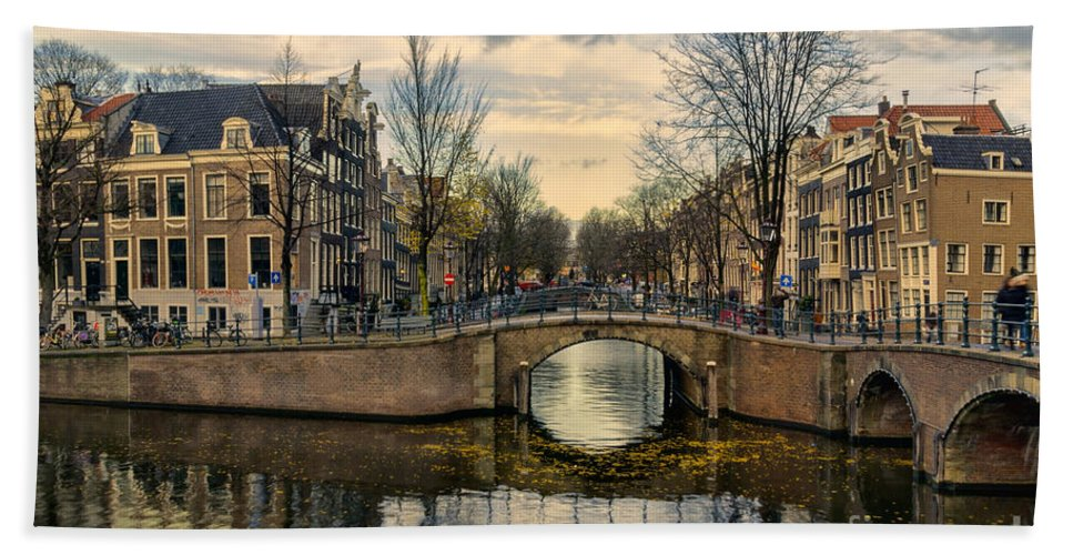 Amsterdam Hand Towel featuring the photograph Amsterdam Bridges by Ann Garrett