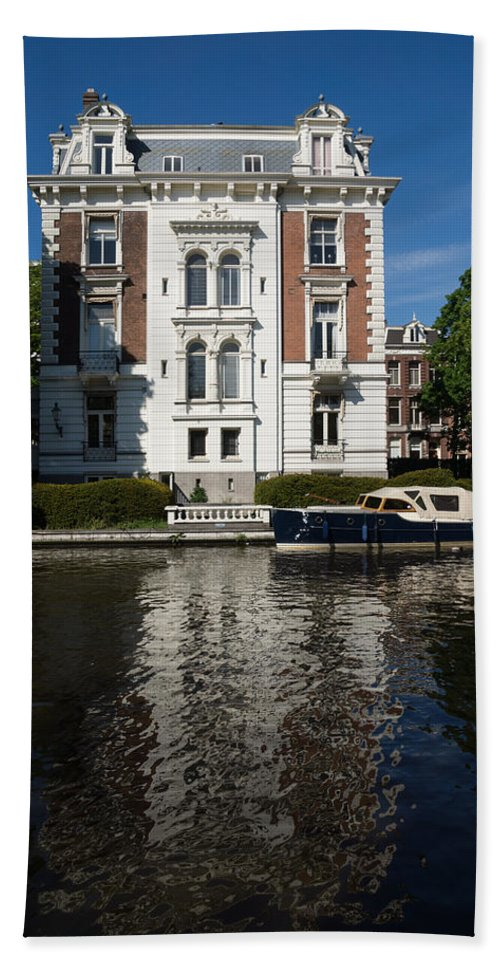 Amsterdam Hand Towel featuring the photograph Amsterdam Canal Mansions - Bright White Symmetry by Georgia Mizuleva