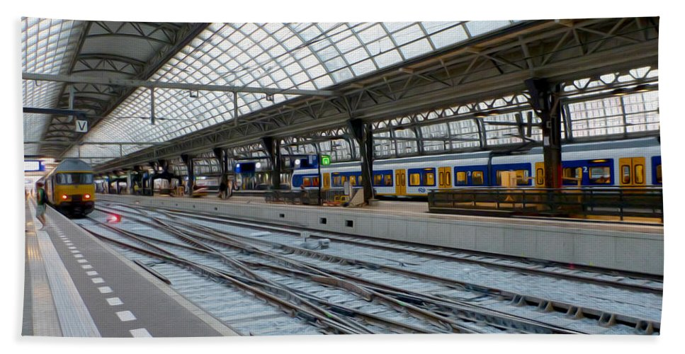 Amsterdam Central Station Hand Towel featuring the photograph Amsterdam Central Station by Tracy Winter