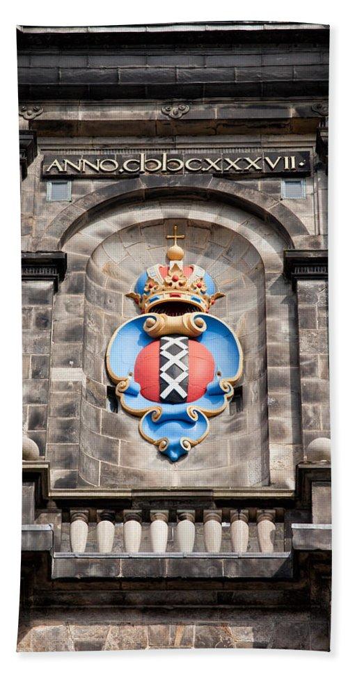 Westerkerk Bath Sheet featuring the photograph Amsterdam Coat Of Arms On Westerkerk Tower by Artur Bogacki