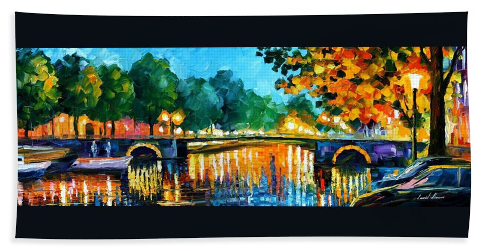 Oil Paintings Bath Sheet featuring the painting Amsterdam-early Morning - Palette Knife Oil Painting On Canvas By Leonid Afremov by Leonid Afremov