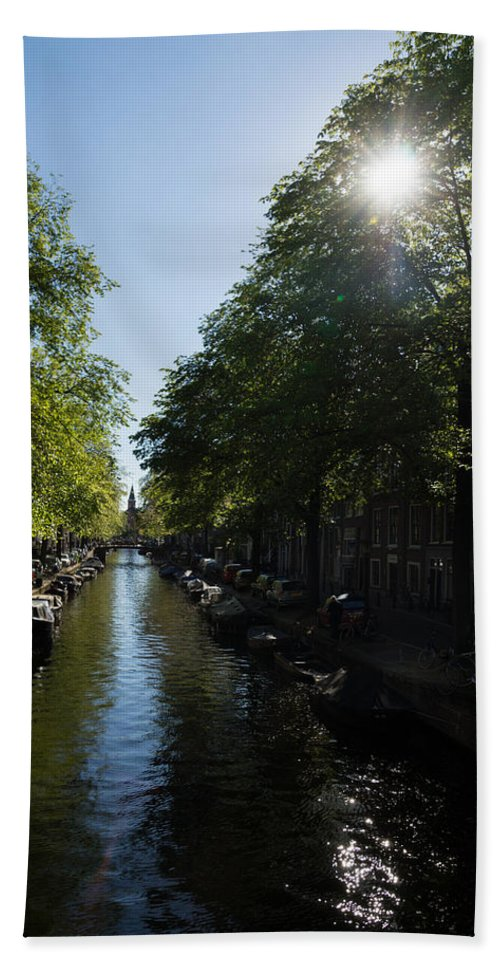 Amsterdam Hand Towel featuring the photograph Amsterdam Spring - Green Sunny And Beautiful by Georgia Mizuleva