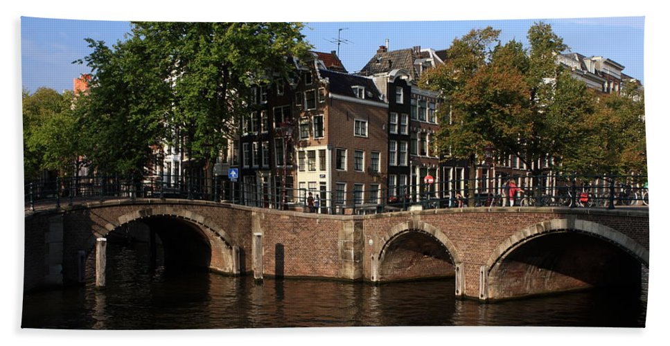 Amsterdam Hand Towel featuring the photograph Amsterdam Stone Arch Bridges by Aidan Moran