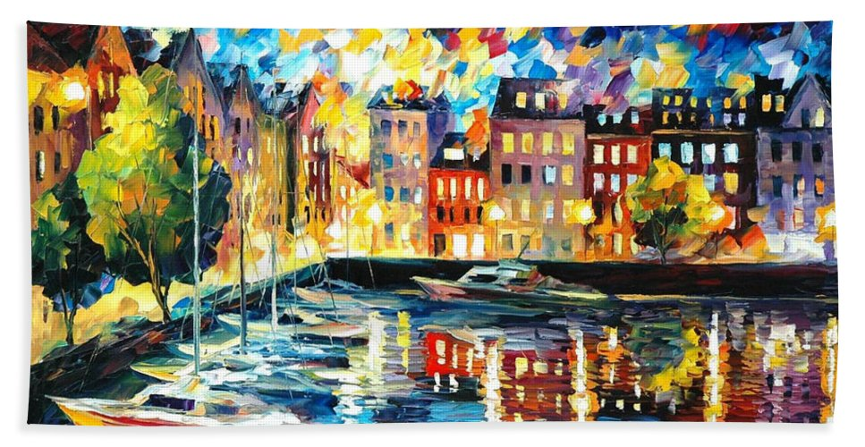 Oil Paintings Bath Sheet featuring the painting Amsterdam's Harbor - Palette Knife Oil Painting On Canvas By Leonid Afremov by Leonid Afremov
