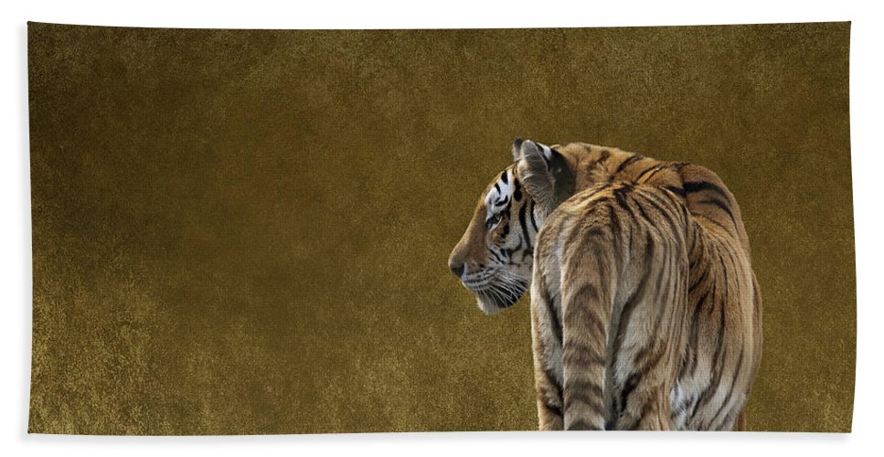 Amur Tiger Hand Towel featuring the photograph Amur Tiger by Terri Waters
