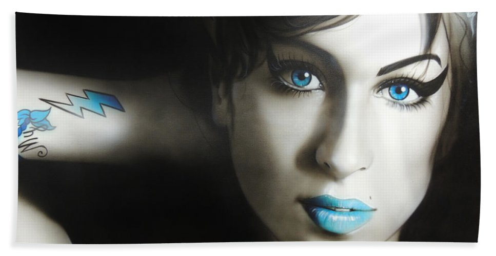 Amy Winehouse Hand Towel featuring the painting Amy 'n' Blues by Christian Chapman Art