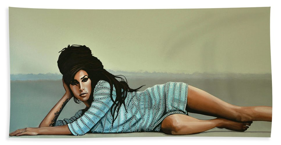 Amy Winehouse Bath Towel featuring the painting Amy Winehouse 2 by Paul Meijering