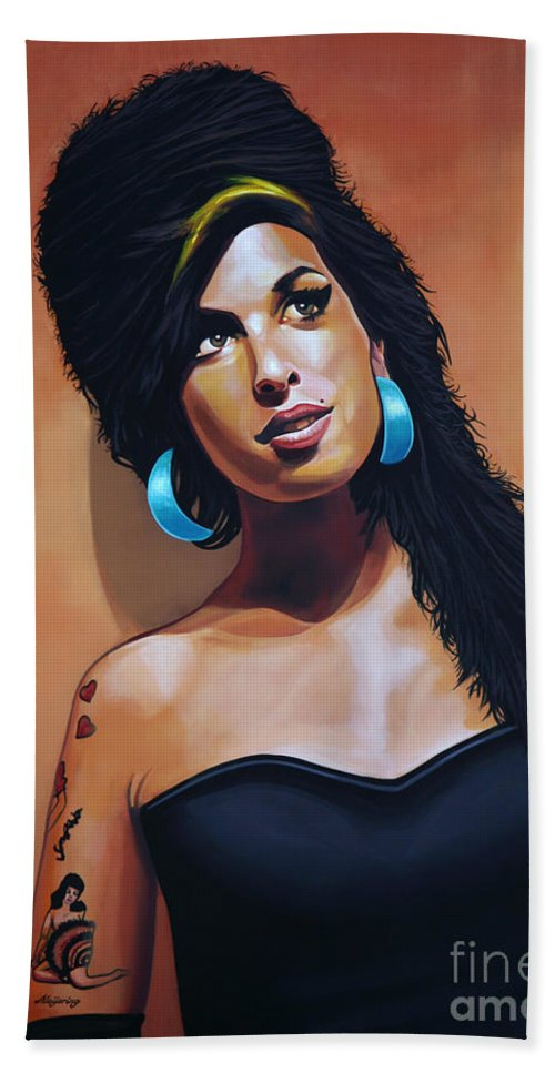 Amy Winehouse Hand Towel featuring the painting Amy Winehouse by Paul Meijering