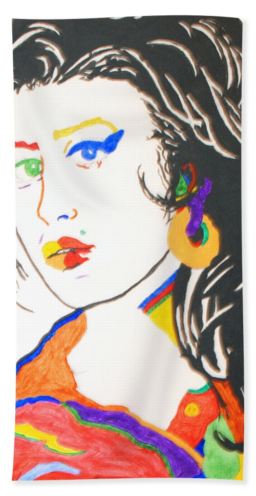 Amy Winehouse Hand Towel featuring the painting Amy Winehouse by Stormm Bradshaw