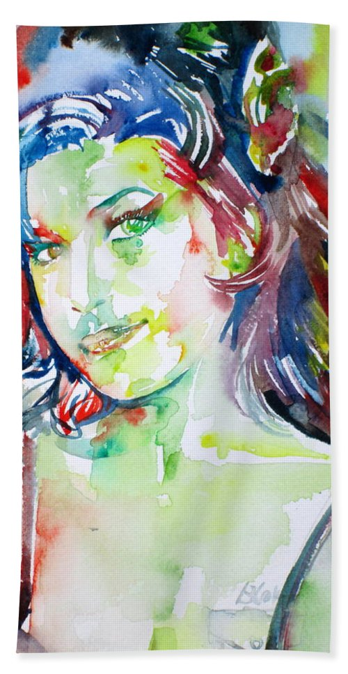 Amy Winehouse Hand Towel featuring the painting Amy Winehouse Watercolor Portrait.1 by Fabrizio Cassetta