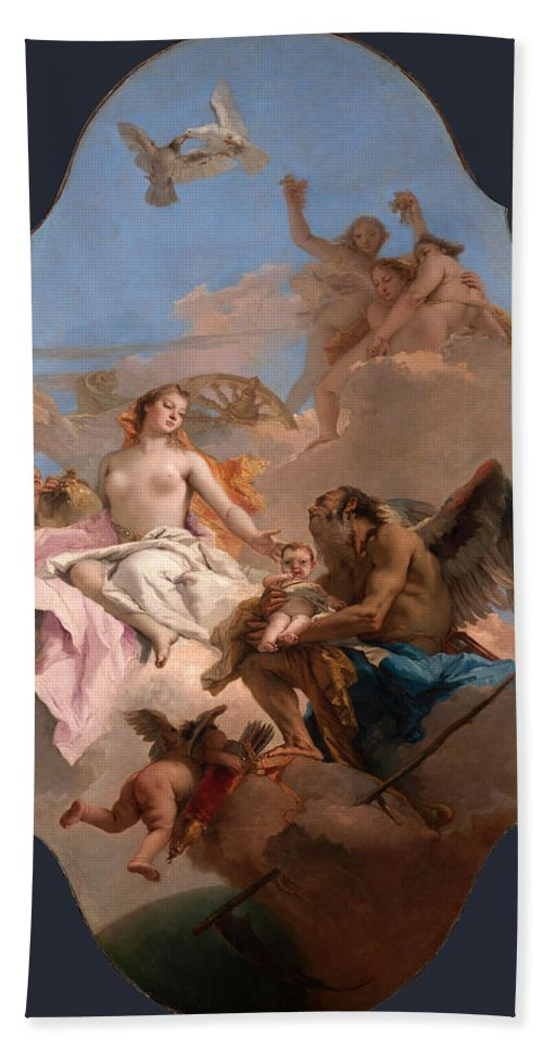 Giovanni Battista Tiepolo Hand Towel featuring the painting An Allegory With Venus And Time by Giovanni Battista Tiepolo