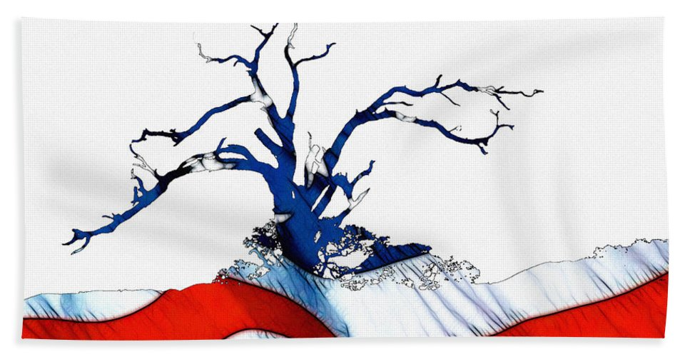 Tree Flag Us Usa American National Proud Glory Landscape Nature Digital Painting Expressionism Impressionism Abstract Bath Sheet featuring the digital art An American Tree by Steve K