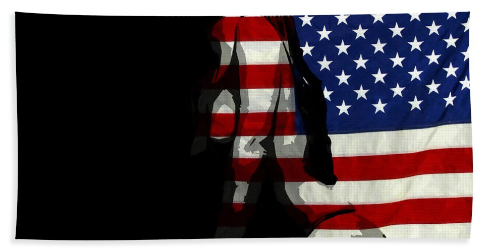 American Hand Towel featuring the painting An American Woman by Steve K