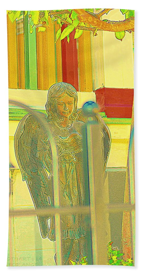 Sculpture Hand Towel featuring the photograph An Angel For An Angel by Kathy Barney