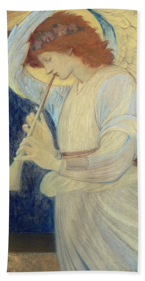 Angel Bath Sheet featuring the painting An Angel Playing A Flageolet by Sir Edward Coley Burne-Jones