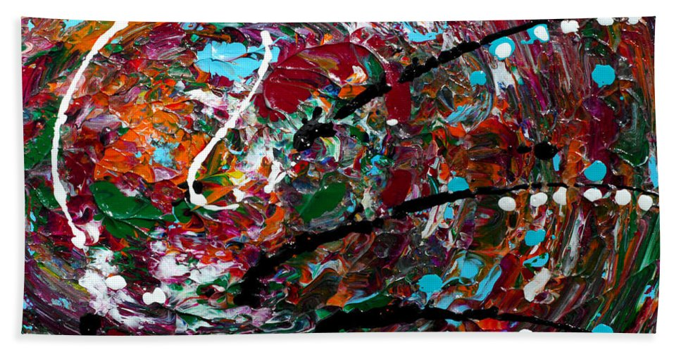 Bold Abstract Hand Towel featuring the painting An Angry Moment by Donna Blackhall