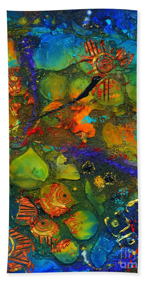 Mixed Media Bath Sheet featuring the mixed media An Aquatic Wine Party by Angela L Walker
