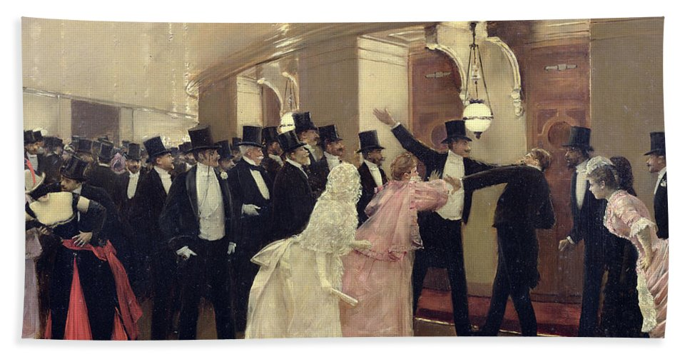 Beraud Bath Sheet featuring the painting An Argument In The Corridors Of The Opera by Jean Beraud