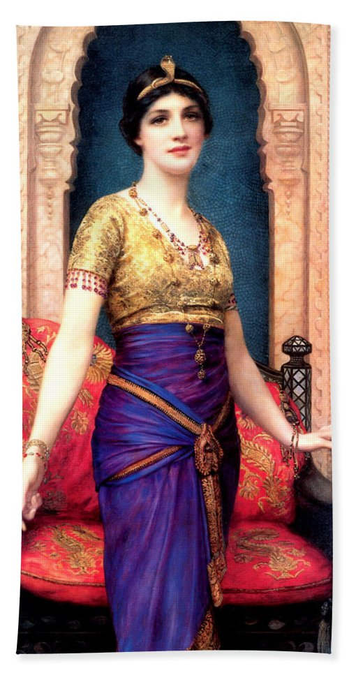 An Egyptian Beauty Hand Towel featuring the digital art An Egyptian Beauty by William Clarke Wontner