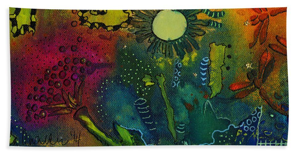 Mixed Media Hand Towel featuring the mixed media An Evening In Spring by Angela L Walker