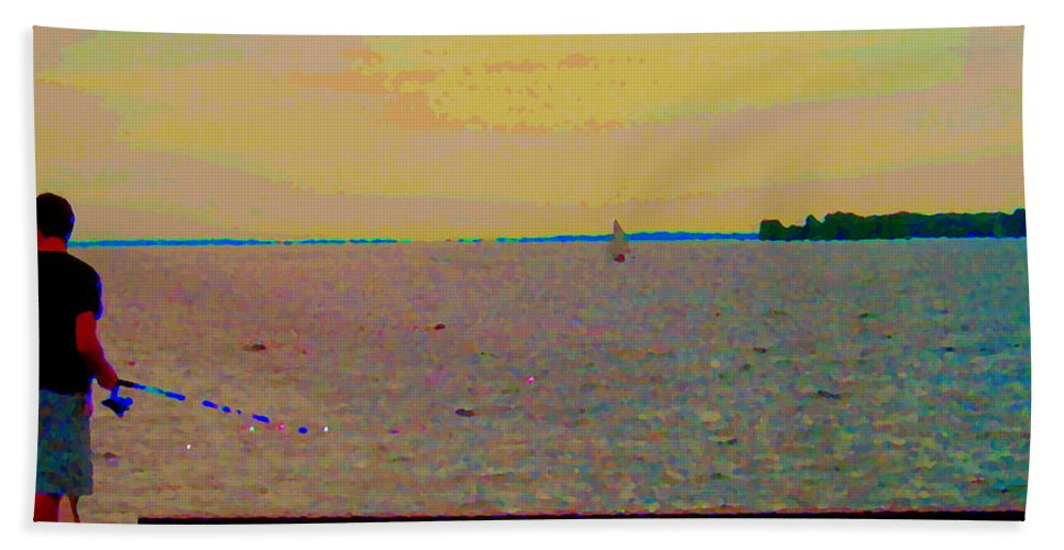 Fishing Hand Towel featuring the painting An Expanse Of Sky And Sea Twilight Fishing The Canal St Lawrence River Scenes Art Carole Spandau by Carole Spandau