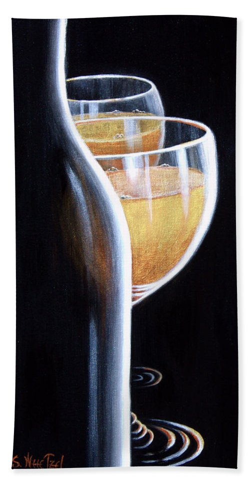Wine Goblet Hand Towel featuring the painting An Indecent Proposal by Sandi Whetzel