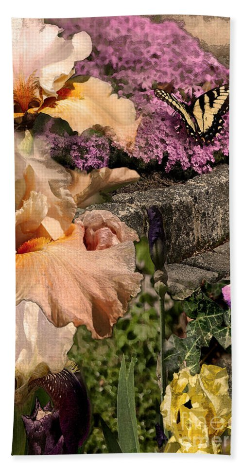 Flowers Bath Sheet featuring the digital art An Iris Surprise Center by Paul Gentille