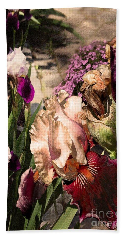 Flowers Bath Sheet featuring the digital art An Iris Surprise Left by Paul Gentille