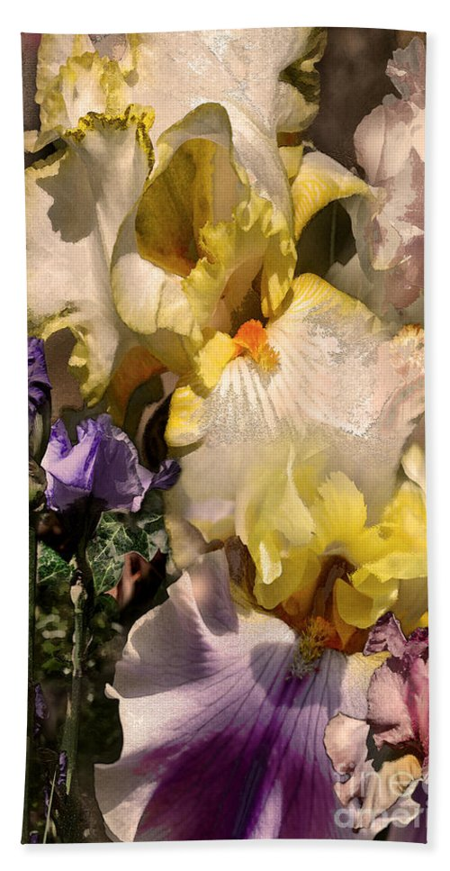 Flowers Bath Sheet featuring the digital art An Iris Surprise Right by Paul Gentille