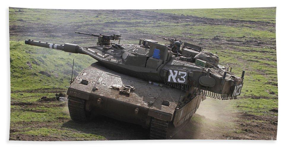 Battletank Hand Towel featuring the photograph An Israel Defense Force Merkava Mark Iv by Ofer Zidon