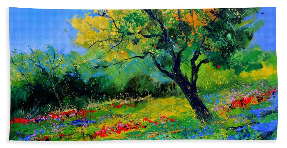 Landscape Hand Towel featuring the painting An oak amid flowers in Texas by Pol Ledent