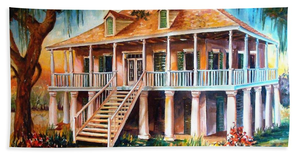 Plantation Bath Sheet featuring the painting An Old Louisiana Planters House by Diane Millsap