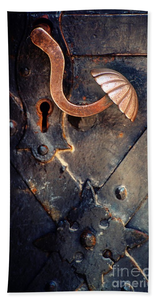 Door Hand Towel featuring the photograph An Old Metal Decorated Door Handle by Jaroslaw Blaminsky