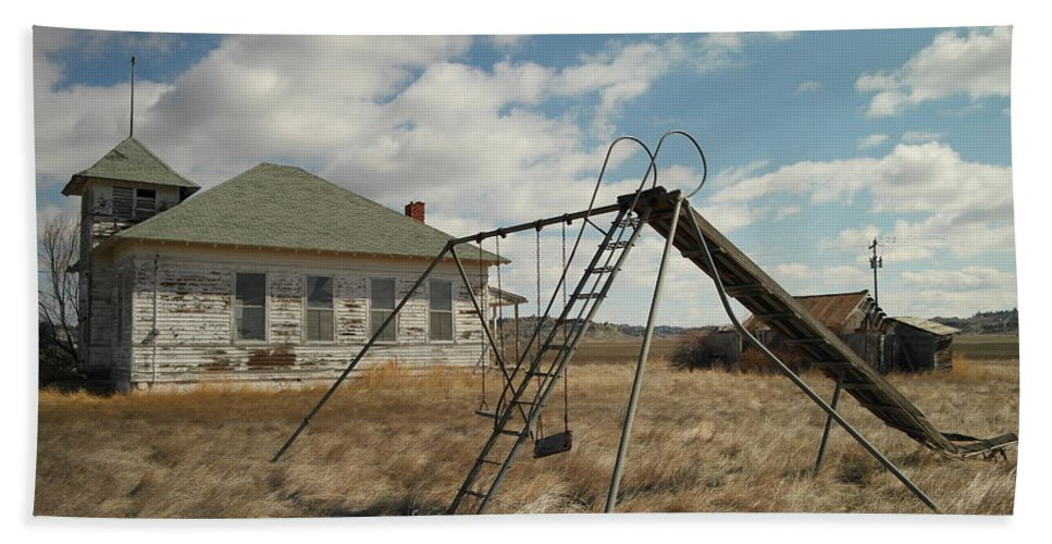 Schools Bath Sheet featuring the photograph An Old School Near Miles City Montana by Jeff Swan