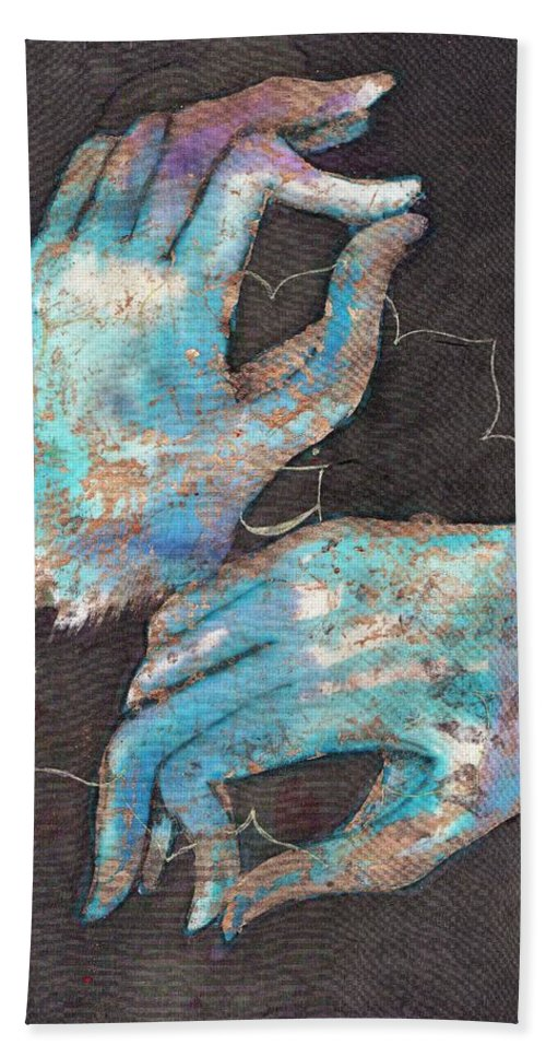 Tilly Campbell Allen Hand Towel featuring the painting Anahata - Heart 'blue Hand' Chakra Mudra by Silk Alchemy
