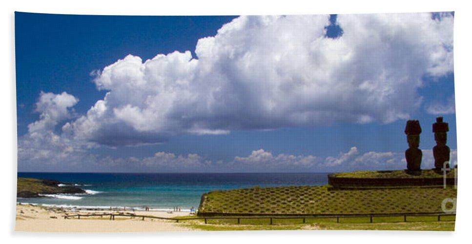 Easter Island Bath Sheet featuring the photograph Anakena Beach With Ahu Nau Nau Moai Statues On Easter Island by David Smith