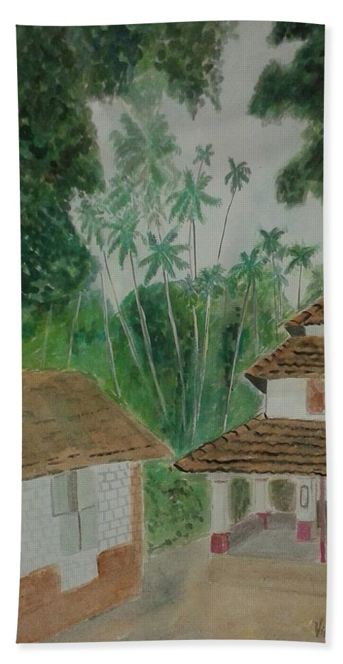House Bath Sheet featuring the painting Ancestral House by Vineeth Menon