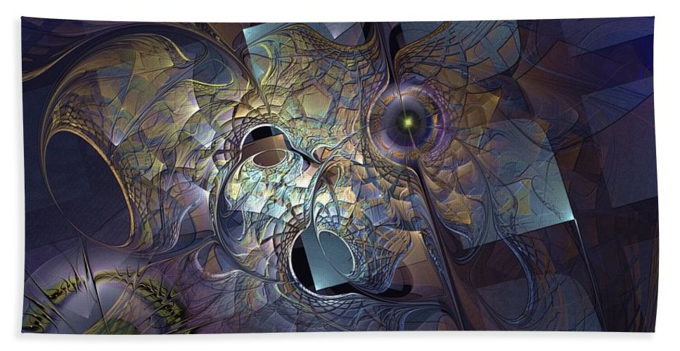 Abstract Bath Sheet featuring the digital art Ancestral Monolith by Casey Kotas