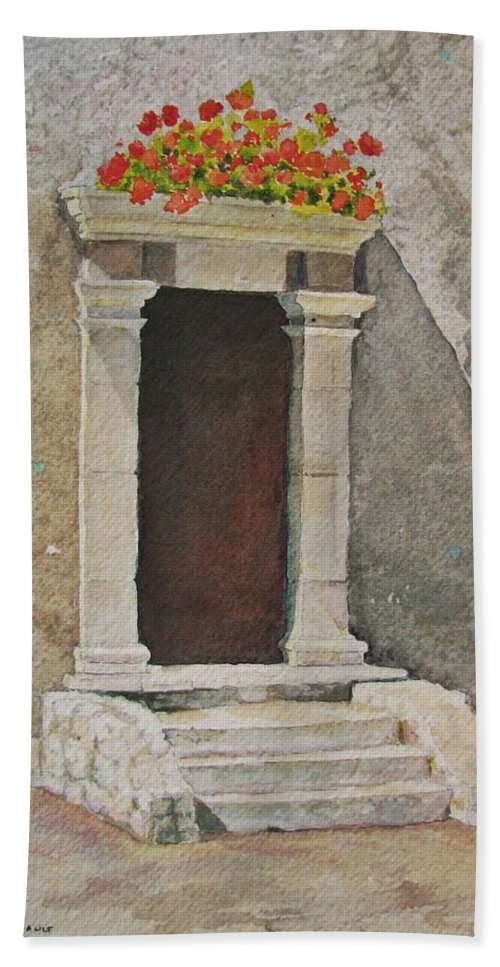 Antique Doorway Bath Sheet featuring the painting Ancient Doorway by Mary Ellen Mueller Legault